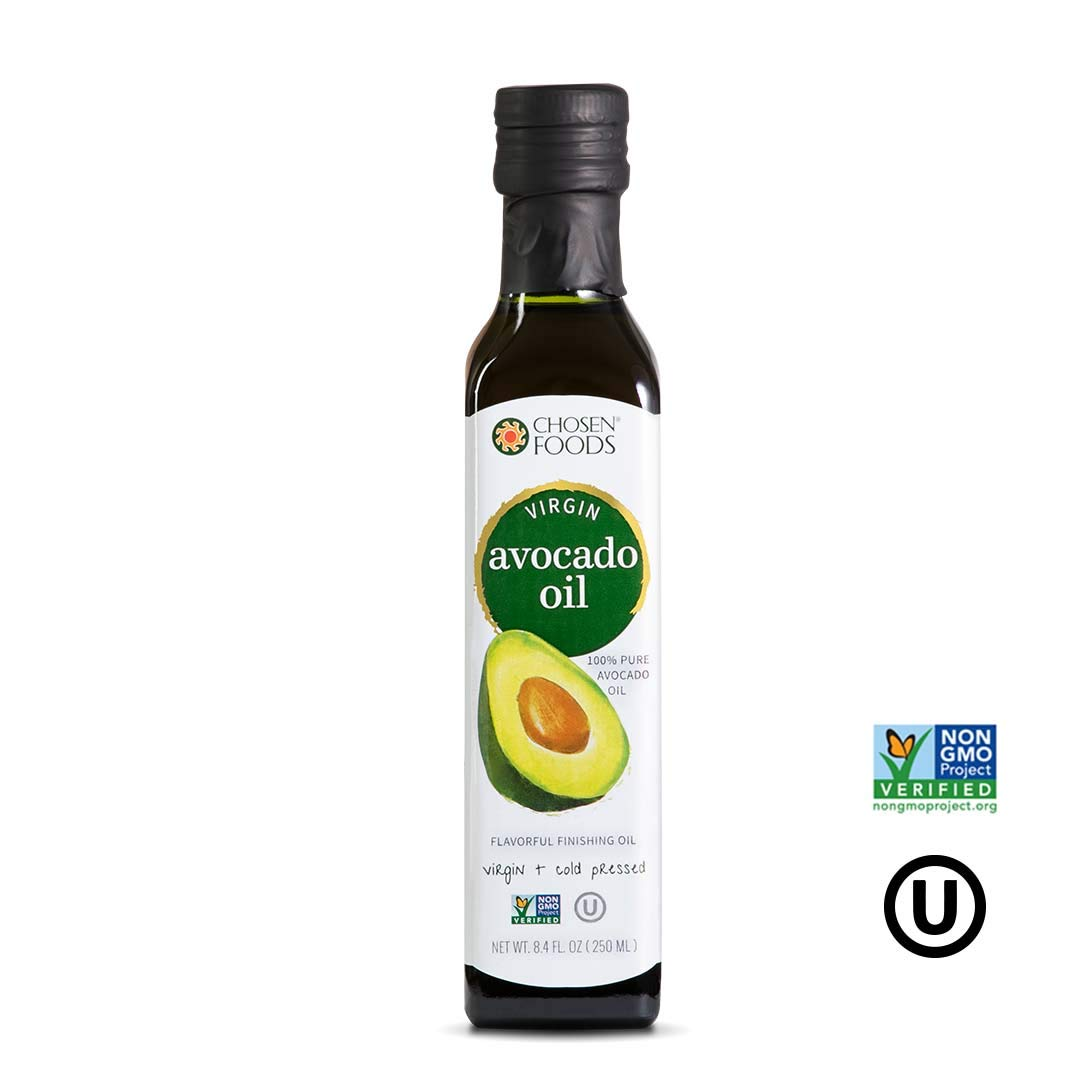 Chosen Foods Virgin Cold Pressed Avocado Oil 8.4 oz., Non-GMO, for High-Heat Cooking, Frying, Baking, Homemade Sauces, Dressings and Marinades