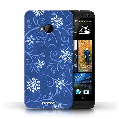 pour HTC One/1 M7 / Bleu conception / Collection de Motif flocon de neige