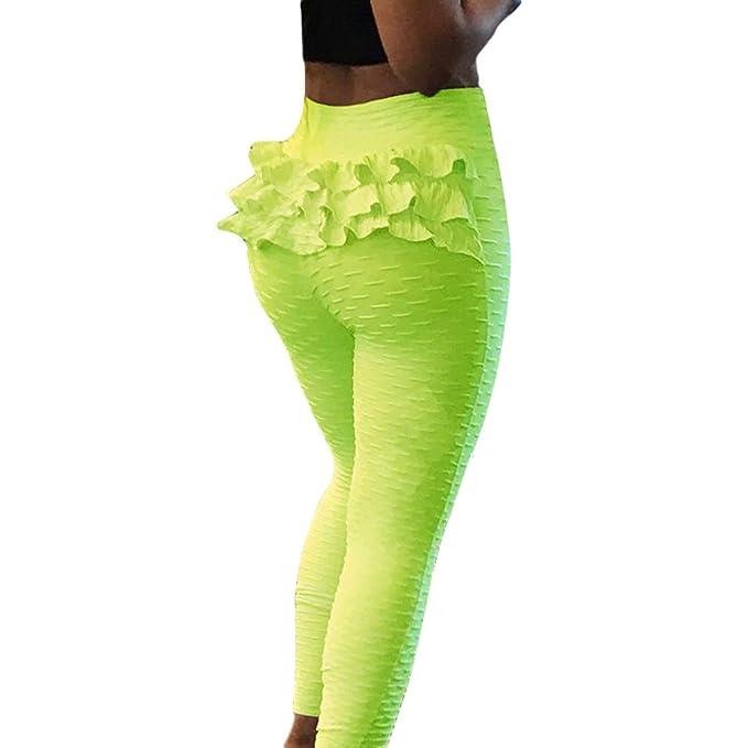 Deportes Mujeres Yoga Fitness Running Pantalones Color Puro Moda Wave  Ruffle Leggings Ladies Sexy Slim Fit Apretados Pantalones Largos 4 Colores  S e8ab21f99a2a