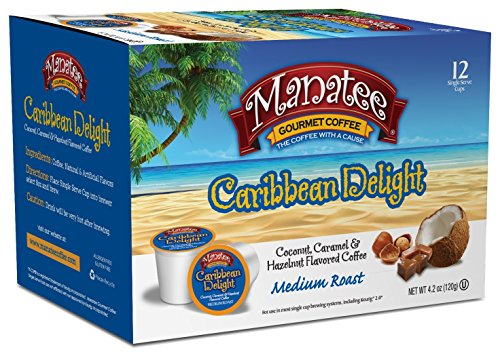 Manatee Gourmet Single Cup Coffee for Keurig K-Cup Brewers Caribbean Delight 12 Count (Pack of 6) Rich Medium Roast Flavored Coffee with Hints of Coconut Hazelnut and Caramel Low Acid Coffee