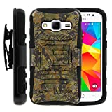Samsung Galaxy Core Prime Case Samsung Galaxy Core Prime Holster Two Layer Hybrid Armor Hard Cover with Built in Kickstand and Unique Graphic Images for Samsung Galaxy Core Prime G360 (Boost Mobile) from MINITURTLE | Includes Screen Protector - Abstract Camouflage