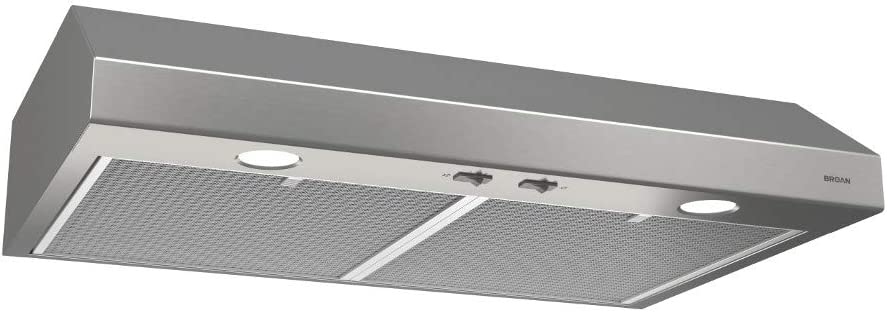 Broan-NuTone BCSD142SS Glacier Range Hood with Light, Exhaust Fan for Under Cabinet, Stainless Steel, 0.6 Sones, 250 CFM, 42""