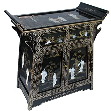 laquer furniture. chinese furniture black lacquer altar cabinet with genuine mother of pearl oriental laquer