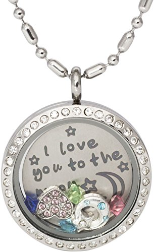 DR Memory Locket Pendant Necklace - I Love You to The Moon and Back - with Birthstone, Heart Charm and Half Moon (Heart)