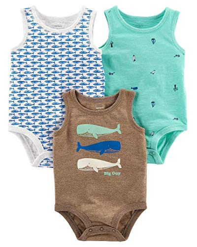 Ribbed Infant Tank Top - Carter's Baby Boys' 3-Pack Tank-Top Original Bodysuits, 9 Months