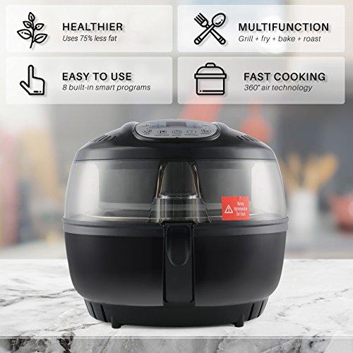 DELLA 1200W Digital Air Fryer 10 Quart Multipurpose Stirrer Rotisserie Oil Less Large Timer & Temperature Controls Roaster, Black by DELLA (Image #3)