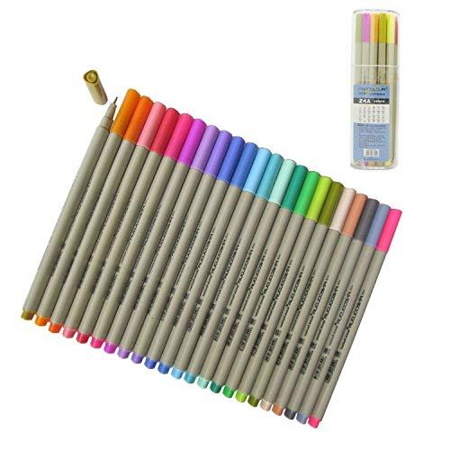 Yosoo 0.3mm Line Width 48 Assorted Colours Set of Fineliner Sketch...