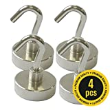 X-bet MAGNET ™ Strong 40LB Magnetic Hooks - Powerful Heavy Duty Neodymium Magnet - 4 Hook Set - Great For Your Refrigerator And Other Magnetic Surfaces - Super Strong And Will Not Scratch