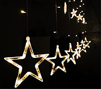 Samgoo 168 LED Lamps Star ,Curtains Party Fairy Christmas Fairy Warm Light String Multicolor
