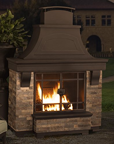 Cheap Sunjoy 110504003 Japer Wood Burning Fire Place Large