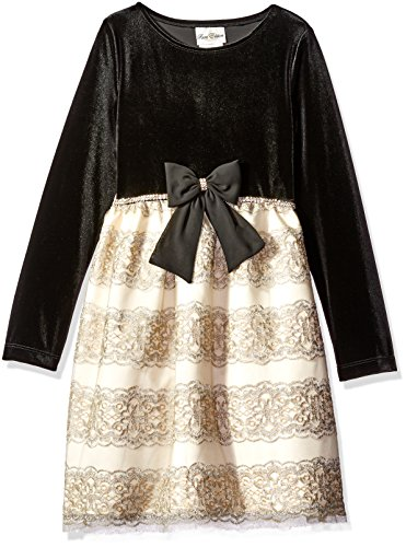 Rare Editions Girls' Big Velvet Bodice to Embroidered Dress, Black/Gold/Silver 8