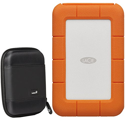Lacie Pocket - LaCie 2TB Portable Rugged Hard Drive, Thunderbolt/USB-C STFS2000800 with Ivation Compact Portable Hard Drive Case + 1mo Adobe CC All Apps