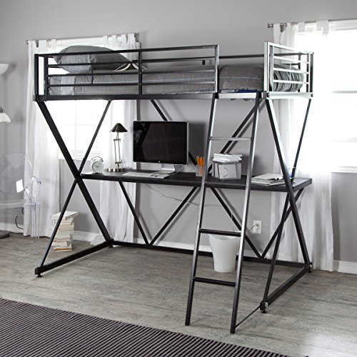 Black Modern Metal Bunk Bed Loft with Desk | Perfect Contemporary Space Saving Bed and Sturdy Study or Storage Desk Furniture Set for Your Child, Teen Boys or Students | Spacious Desk Space for a PC, Laptop, Netbook and School Supplies by Gramercy Home (Image #2)