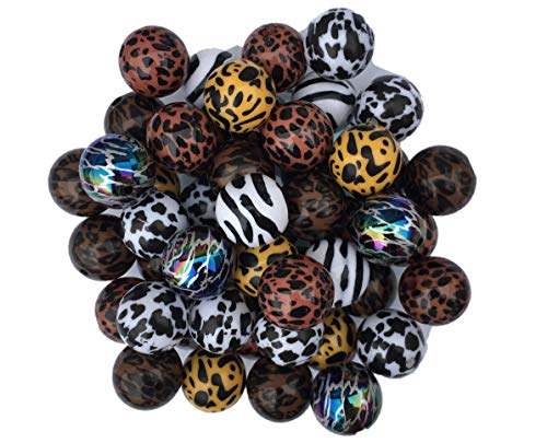 Print Bead Animal - 20mm Animal Print Beads 50 Count Mixed Pack Chunky Bubble Gum Beads