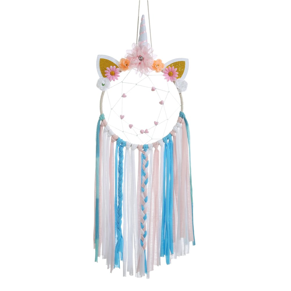 Laddawan Cartoon Animal Dream Catcher 8.07'' x 25.19'' Natural Wall Hanging with Beads, Flowers, Colorful Cloth Strips (Muti-color)