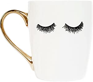 Sweet Water Decor Eyelashes Coffee Mug with Gold Handle | Eyelash Mug Cute Mugs Eyelashes Mug Wink Mug Girly Coffee Cup, 16 oz (White)