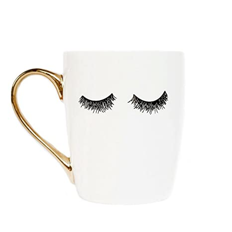 d218e9a27e5b Amazon.com: Sweet Water Decor Eyelashes Coffee Mug with Gold Handle | Tea &  Coffee Mugs For Women - Inspirational Gifts For Women, 16 fl. oz (White):  ...