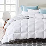 APSMILE Luxurious King Size Goose Down Comforter All Seasons Duvet Insert-1200 Thread Count Ultra-Soft Egyptian Cotton Shell,750 Fill Power, Lightweight Fluffy Middle Warmth, Solid White