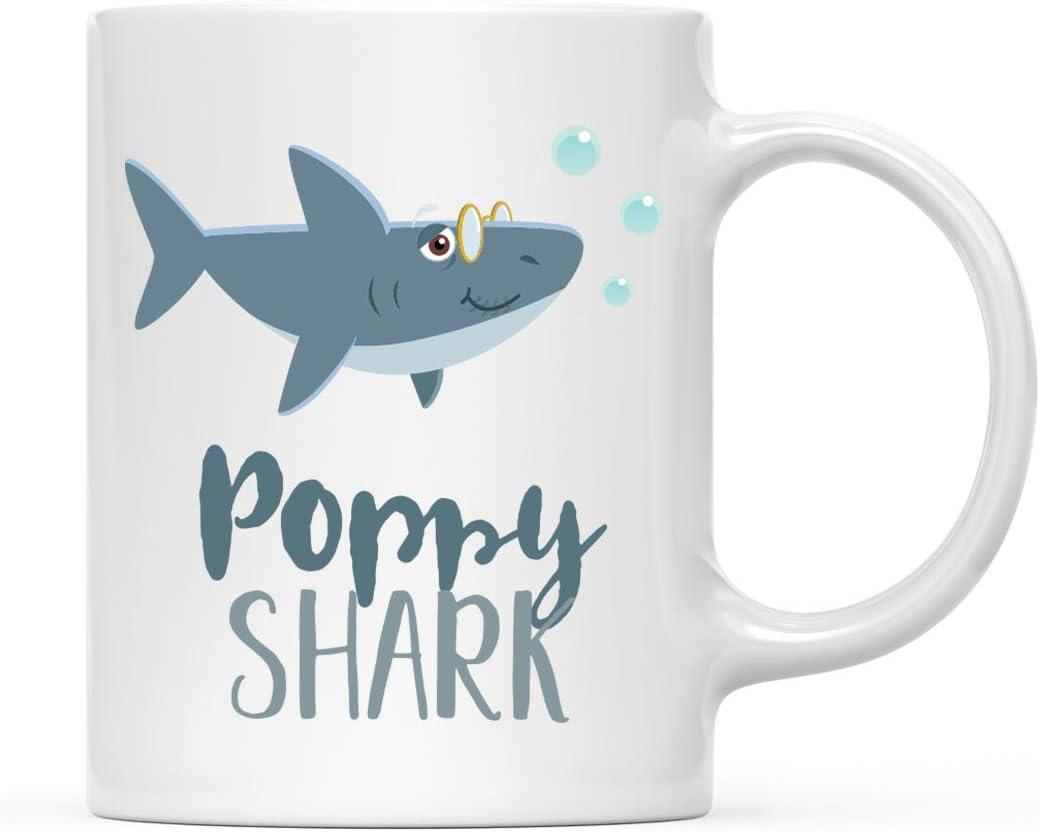 Andaz Press Baby Shark Family 11oz. Coffee Mug Gift, Poppy Shark, 1-Pack, Shark Do Do Do Gift Idea Birthday Christmas Gifts for Poppy