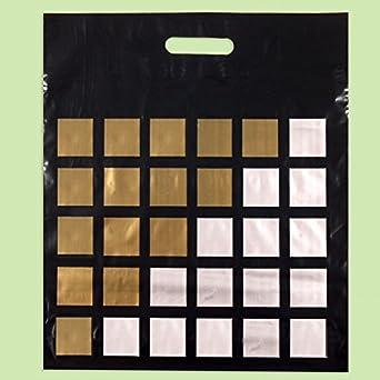 Pack de 50/Eco negro y oro rayas impreso pl/ástico Compras//bolsas 50/x 60/cm