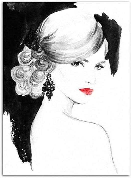 LWJZQT Leinwanddrucke 2pcs Mr Mrs Fashion Poster Schwarz Wei/ß Leinwand Wandkunst Druck Gem/älde Nordic Style Wandbild Wohnzimmer Skandinavische Wohnkultur 40X60cm