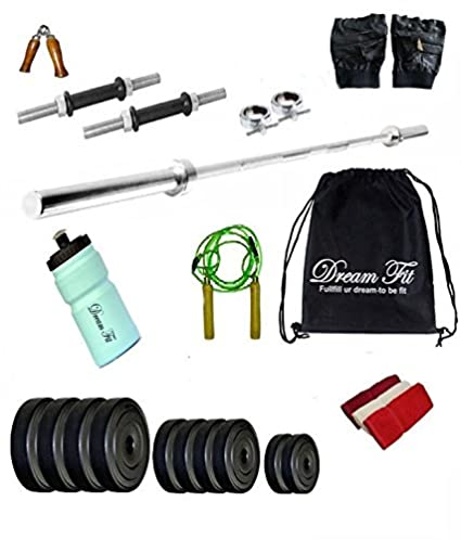 b795876327 Image Unavailable. Image not available for. Colour  DREAMFIT 30 KG Home Gym  with 3FT Straight Rod and Sipper Water Bottle and Accessories