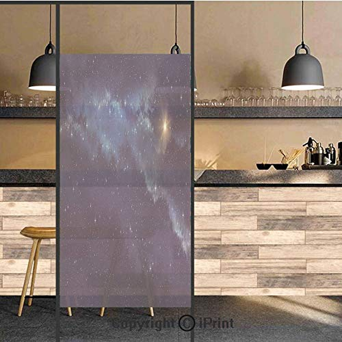 3D Decorative Privacy Window Films,Deep Space with Star Field Backdrop Astral Infinite Universe Interstellar Decorative,No-Glue Self Static Cling Glass film for Home Bedroom Bathroom Kitchen Office 17