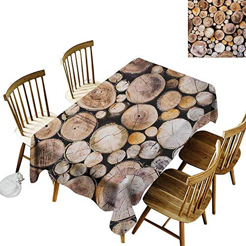 Mannwarehouse Rustic Dustproof Rectangular Tablecloth Wooden Logs Background Circular Shaped Oak Tree Life and Growth Theme and Durable W54 x L90 Pale and Sand Brown
