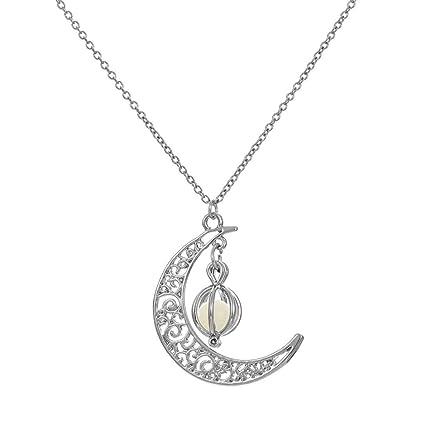 TINGSU - Collar luminoso con colgante de luna y calabaza chapado en ...