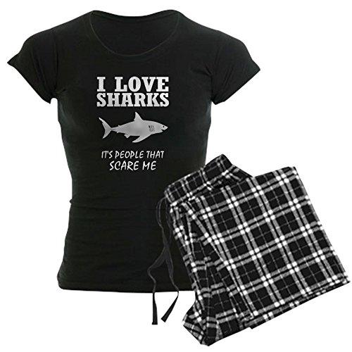 CafePress Love Sharks, It's People T - Womens Novelty Cotton Pajama Set, Comfortable PJ Sleepwear (Shark Footed Pajamas Adult)
