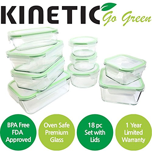 Kinetic Glass Food Storage Containers with Lids - 18 Piece - GlassWorks Meal Prep Containers, Airtight and Leakproof with Portion Control Containers,BPA Free & FDA Approved(9 Containers & 9 Lids)