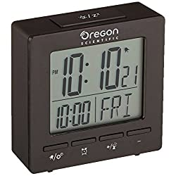 Oregon Scientific RM511A Black Portable Dual Alarm Clock with Temperature Date Backlight for Home Office Travel