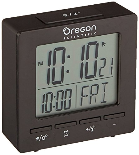Oregon Scientific RM511A Black Portable Dual Alarm Clock with Temperature Date Backlight for Home Office Travel (Oregon Electronic Scientific)