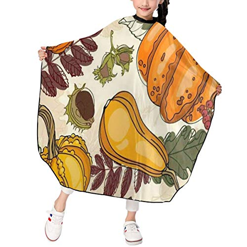 (Kids Autumn Fall Harvest Food Vegetables Pumpkins Haircut Apron Fashion Haircut Barber Cape Cover Waterproof For Haircut Styling Smock Cover Cloth)