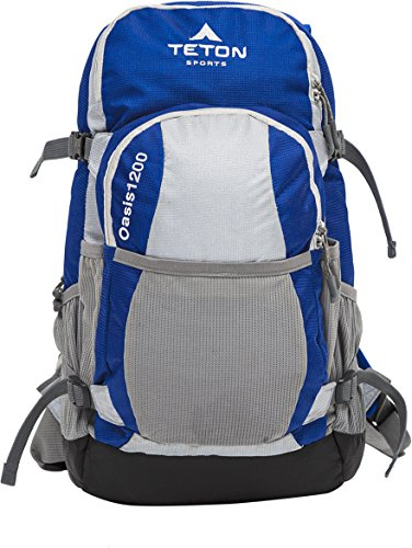(TETON Sports Oasis 1200 3-Liter Hydration Backpack; Day Pack Perfect for Hiking, Cycling, Biking, Climbing, Hunting, Running, and Outdoor Activities; 3L Water Bladder Included; Sewn-in Rain Cover; Blue/Grey)
