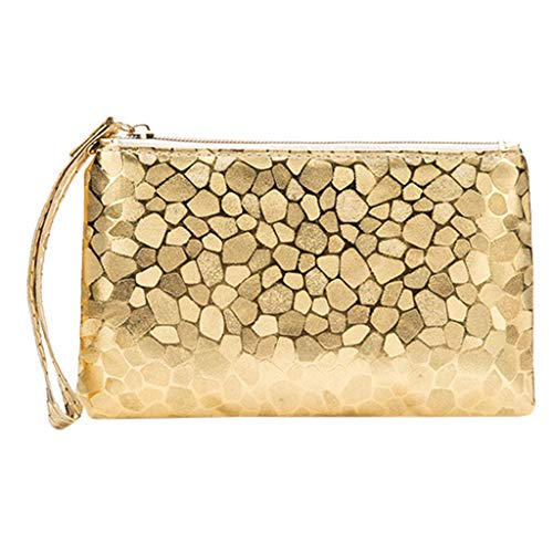 Women Sequin Glitter Clutch Bag Zip Closure Beaded Wristlet Bag Purse Fold Over Envelope Handbag for Night Cocktail Party Wedding (Gold, 4.3