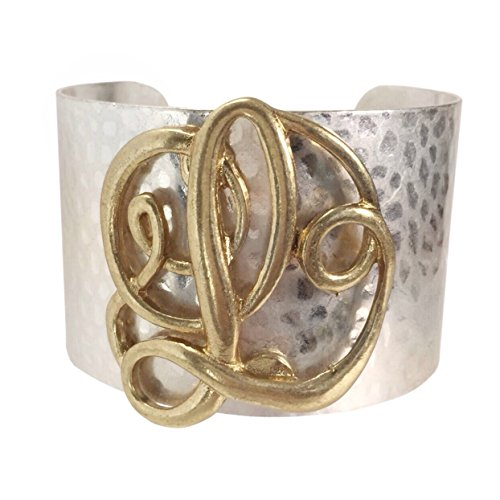 Wide 2 Tone Hammered Boutique Look Monogram Initial Cuff Bracelet (Letter L) (Dangle Cuff Bracelet)
