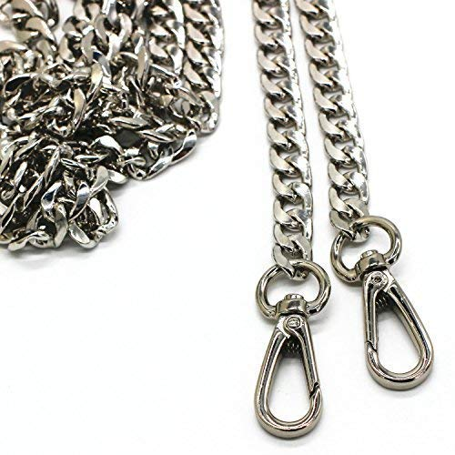 LONG TAO 55 DIY Iron Flat Chain Strap Handbag Chains Accessories Purse Straps Shoulder Cross Body Replacement Straps, with Metal Buckles (Silver)