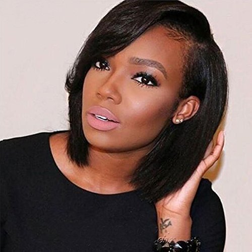 Aruki Hair Short Bob Human Hair Lace Front Wig Brazilian Virgin Glueless Silky Straight Hair Wigs with Baby Hair for Black Women 10A Grade 136 Lace Wig Natural Color Hair 10 Inch 130% Density