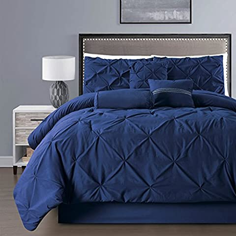 7 Pieces Double-Needle Stitching Pinch Pleat Solid NAVY BLUE Comforter Set (California) CAL KING Size Bedding
