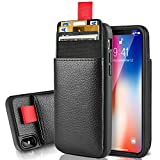 LAMEEKU Wallet Case for Apple iPhone Xs and iPhone X 5.8'', Protective Leather