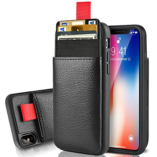 LAMEEKU Wallet Case for Apple iPhone Xs and iPhone X 5.8, Protective Leather Cases with Credit Card Holder Slot Pocket, Shockproof TPU Bumper Phone Cover Compatible with iPhone Xs/X - Black