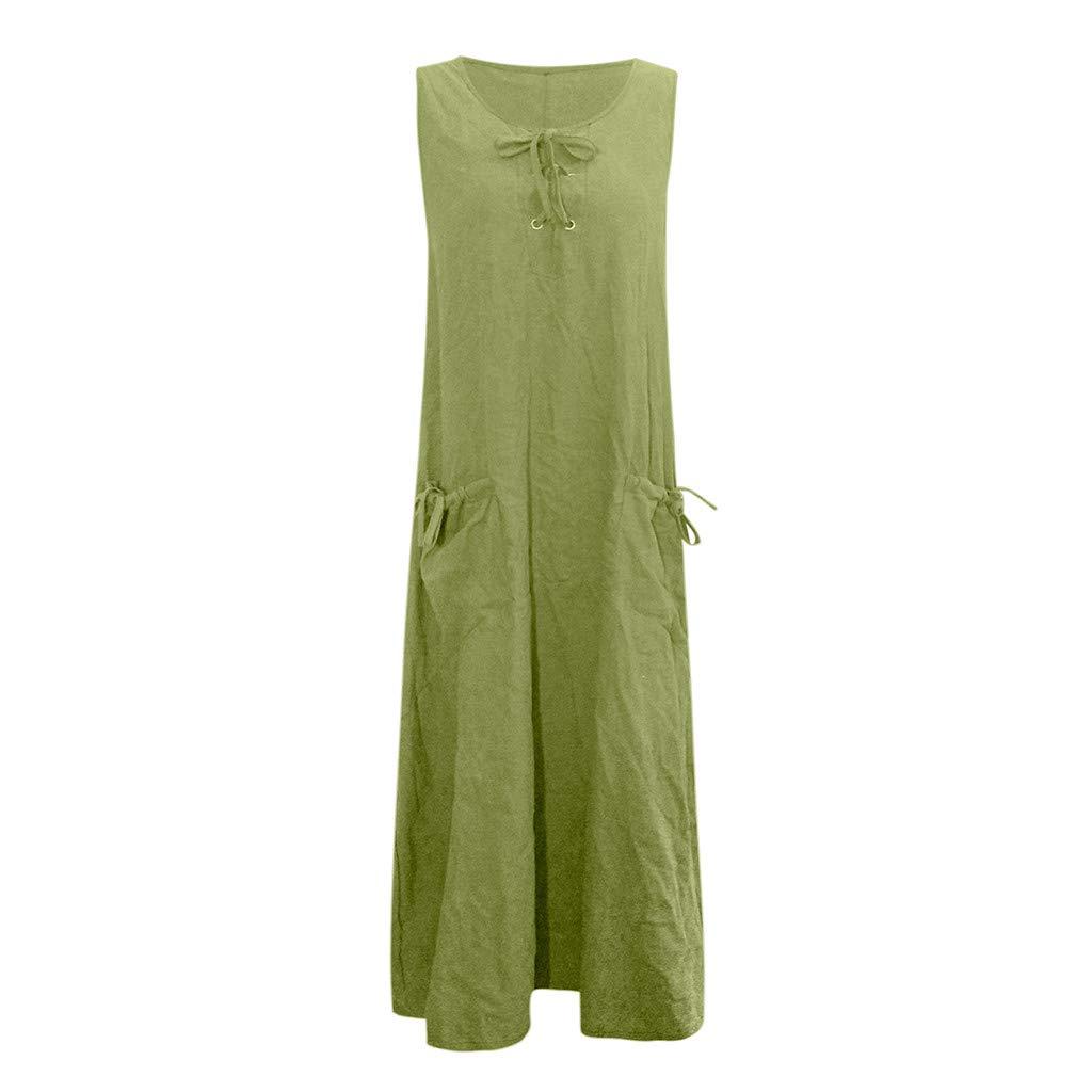 Nuewofally Women's Maxi Dress Casual Bandage Dress Summer Solid Sleeveless Long Dress Fashion Sundress Green