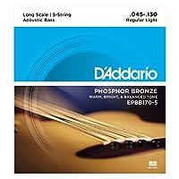 Cuerdas de bajo acústico de 5 cuerdas D'Addario EPBB170-5 de bronce fosforado, escala larga, 45-130