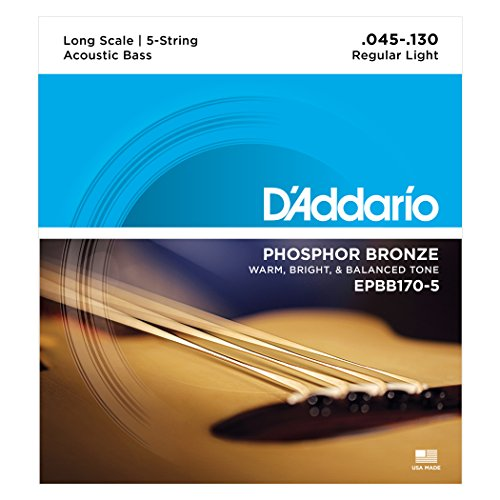 D'Addario EPBB170-5 Phosphor Bronze 5-String Acoustic Bass Strings, Long Scale, 45-130 ()