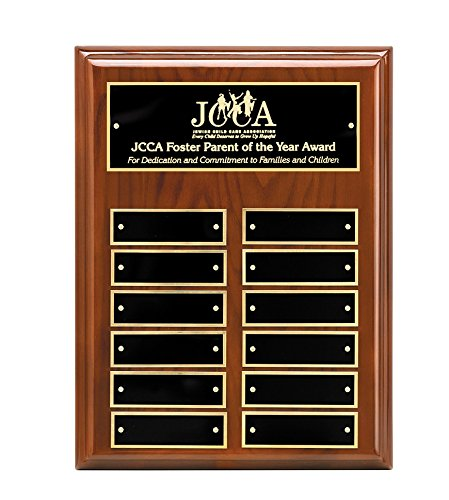 Woltman - 9 X 12 WALNUT PERPETUAL PLAQUE WITH BLACK BRASS HEADER PLATE AND 12 MATCHING ENGRAVING PLATES