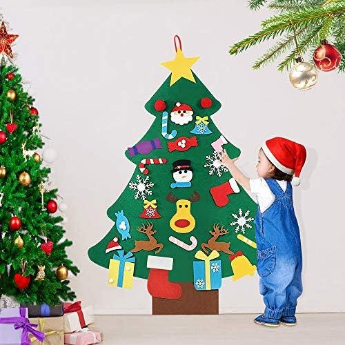 AFASOES Feltro Albero Natale 3.12ft Albero di Natale da Appendere al Muro della Feltolta di DIY con 25 Ornamenti Staccabili Regali di Natale per la Decorazione della Parete del Portello dei Bambini