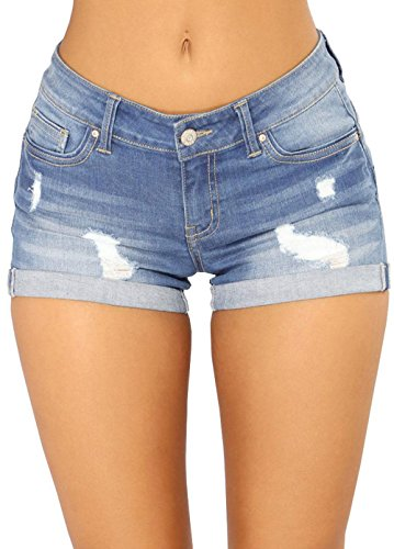 Lynwitkui Womens Juniors Denim Shorts Ripped Distressed Stretchy Mid Rise Casual Summer Hot Pant Jeans with Pockets