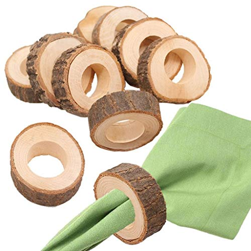 (Clearance Sale!DEESEE(TM)Wooden Round Wooden Pendant Napkin Ring Crafts Production Hotel DIY Wedding)