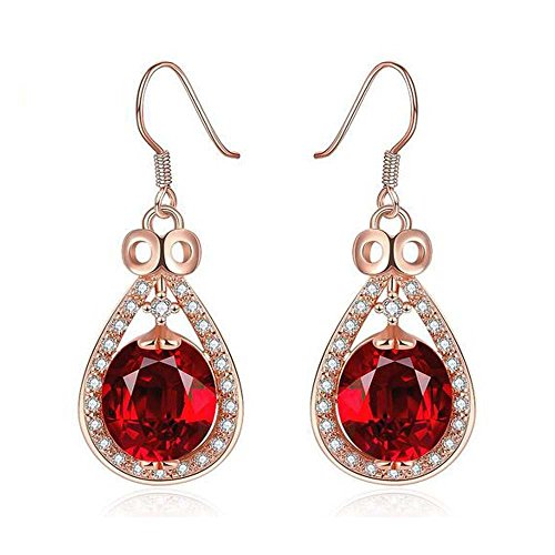 [Darkey Wang Woman Fashion Jjewelry Rose Gold Colored Gemstone Diamond Earrings(Red)] (Make Imperial Guard Costume)